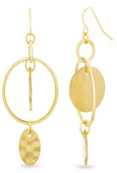 Catherine Malandrino Women's Interlocked Circle Yellow Gold-Tone Hoop Earrings