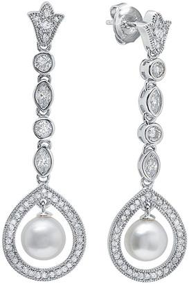 Crislu Silver & Platinum 7Mm Pearl & Cz Earrings