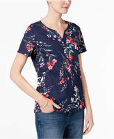 Karen Scott Petite Cotton Printed Short-Sleeve Henley, Created for Macy's
