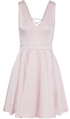 Zac Posen Lori Lace-up Pleated Satin-faille Mini Dress