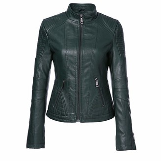 FWTWSVBWE Autumn Women Black Color Mandarin Collar Zippers Short Female Faux Leather Jackets Green 3XL