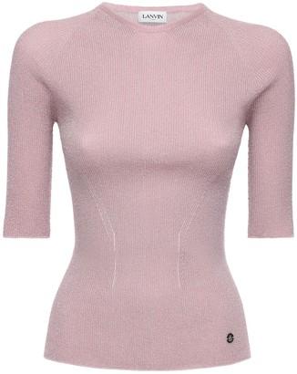 Lanvin Short Sleeve Stretch Lurex Knit Top
