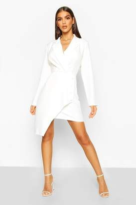 boohoo Wrap Front Detail Blazer Dress