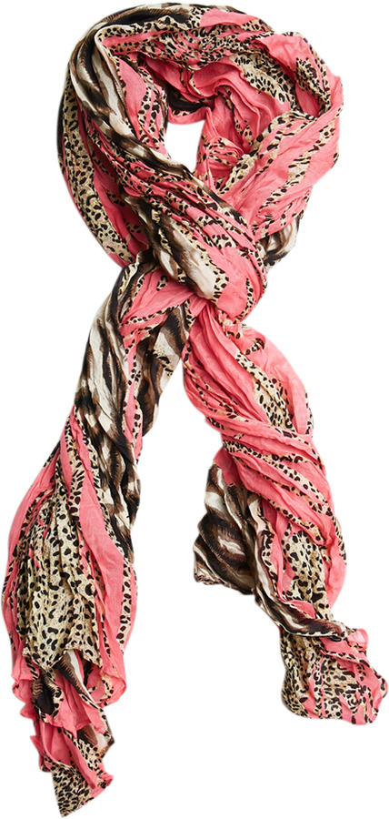 Wet Seal Bright Crinkle Leopard Scarf