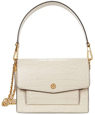 Tory Burch Robinson Embossed Double-Strap Convertible Shoulder Bag (Jamaica Sand) Handbags