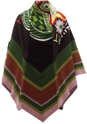 La DoubleJ Athena Cotton-blend Knitted Poncho - Black Print