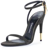 Tom Ford Suede Ankle-Lock 105mm Sandal, Black