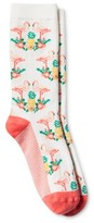 Merona Women's Crew Socks Flamingos Sour Cream One Size