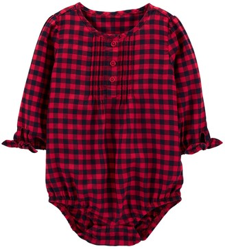 Osh Kosh Baby Girl Buffalo Check Bodysuit
