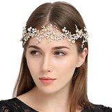 FAYBOX Handmade Crystal Rhinestones Wedding Head Band Bridal Hair Accessorie Headpieces Gold-tone