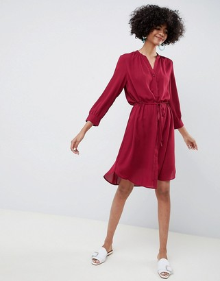 Selected long sleeve midi shirt dress in red