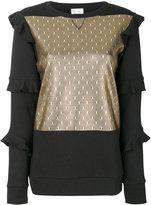 RED Valentino ruffled panelled sweatshirt - women - Cotton/Polyamide - XS