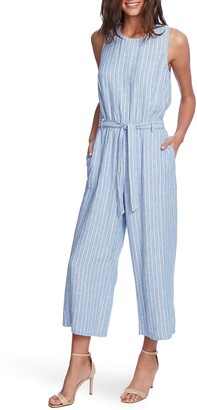 Vince Camuto Tranquil Stripe Sleeveless Belted Jumpsuit