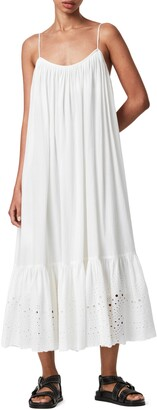 AllSaints Paola Cotton Eyelet Trim Midi Dress