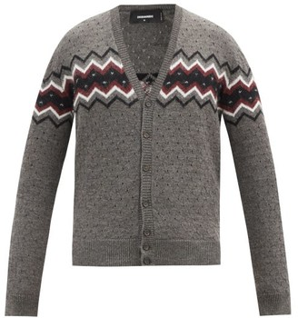 DSQUARED2 Polka-dot Zigzag-jacquard Wool And Alpaca Cardigan - Grey
