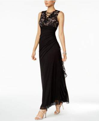 Betsy & Adam B&A by Ruched Lace Gown