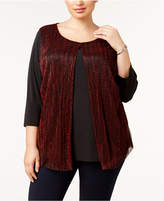 NY Collection Plus Size Layered-Look Metallic Top