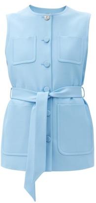 Gucci Sleeveless Belted Silk-blend Jacket - Blue