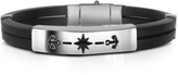Forzieri Men's Rubber and Stainless Steel Anchor Bracelet