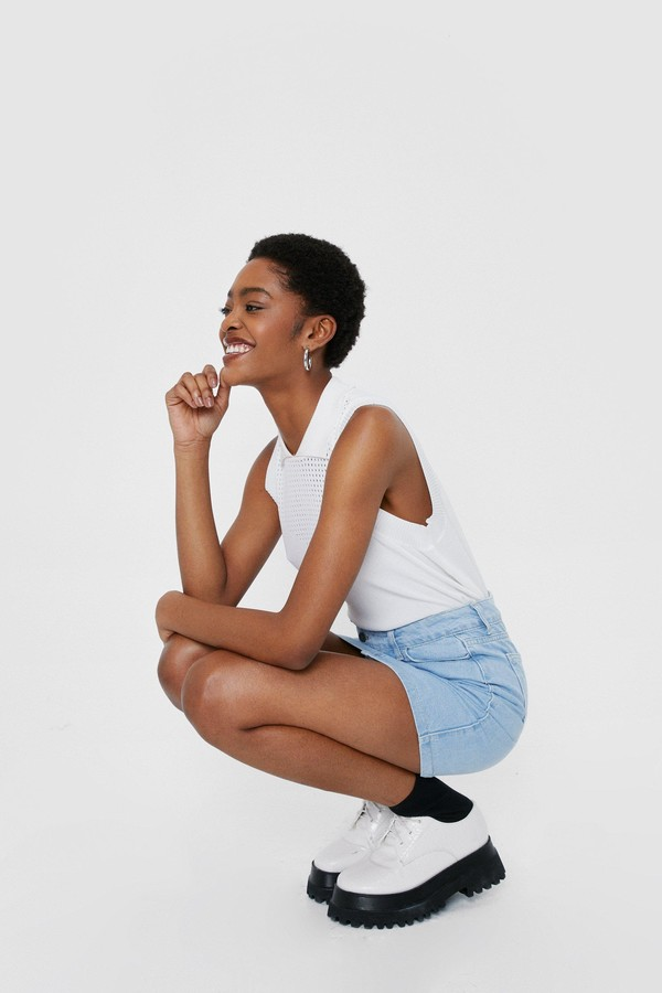 Thumbnail for your product : Nasty Gal Womens Denim High Waisted Crossover Mini Skirt - Blue - 14