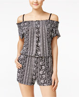 Amy Byer Juniors' Tie-Dyed Cold-Shoulder Romper