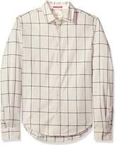 Scotch & Soda Men's Classic Twill Shirt with Yarn-Dyed Check Pattern