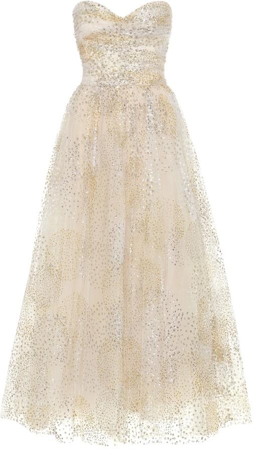 Monique Lhuillier Strapless tulle gown