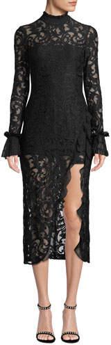 Alexis Fala Lace Long-Sleeve Front-Slit Cocktail Dress