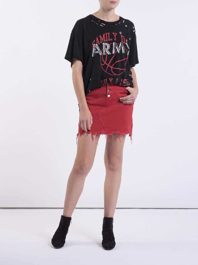 Amiri Leather and denim fringed mini skirt