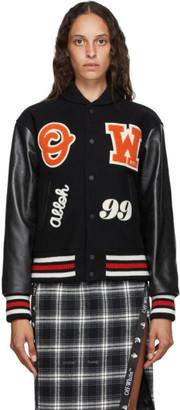Off-White Black Leather Varsity Bomber Jacket