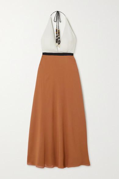 Eres Palma Color-block Silk-crepe Halterneck Maxi Dress - Tan