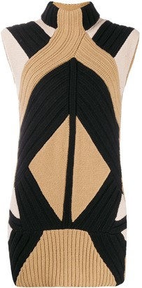 Givenchy Pre Owned Knitted Stand-Up Collar Elongated Top