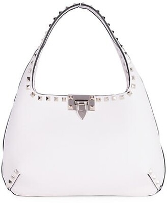 Valentino Small Rockstud Leather Hobo Bag