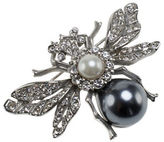 Kenneth Jay Lane Antique Silvertone and Crystal Bee Pin with Faux Pearl