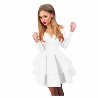 YBWZH Women Vintage Dress Women Elegant Long Sleeve V Neck Long Sleeve Dress Princess Dress Evening Dress Women Halloween Housewife Party Prom Dress Carnival Party Dress White