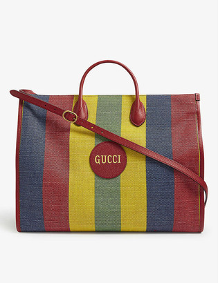 Gucci Merida stripe linen tote bag