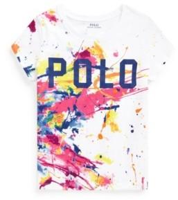 Polo Ralph Lauren Big Girls Paint Splatter Logo Jersey Tee
