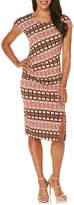 Rafaella RafaellaCap Sleeve Pattern Shift Dress