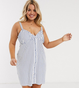 ASOS DESIGN Curve button through cupped sundress in blue white stripe