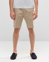 Asos Skinny Tailored Shorts In Stone