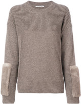 Agnona fur patch sweater