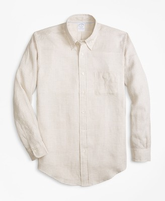 Brooks Brothers Regent Fit Safari Gingham Irish Linen Sport Shirt