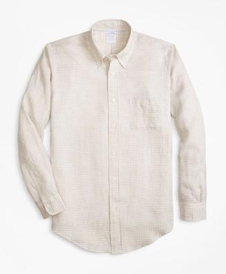 Brooks Brothers Regent Fit Safari Gingham Irish Linen Sport Shirt