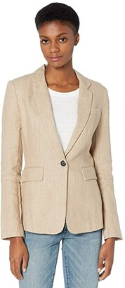 1 STATE One-Button Linen Blazer (Natural) Women's Clothing