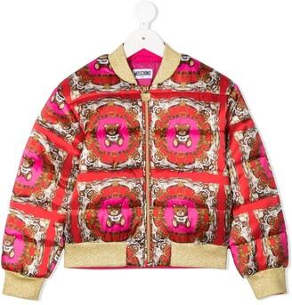 MOSCHINO BAMBINO Abstract Bear Print Bomber Jacket