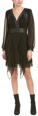 BCBGMAXAZRIA Azria Women's Andela Woven Dress with Faux Leather Lacing
