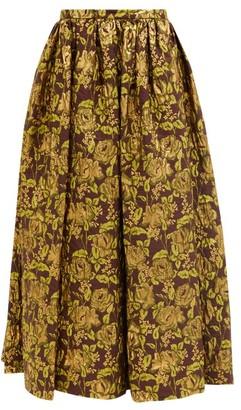 Erdem Lindie Floral-brocade Maxi Skirt - Burgundy Gold