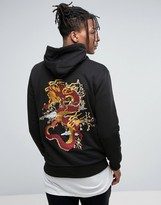 Criminal Damage Hoodie In Black With Dragon Back Print