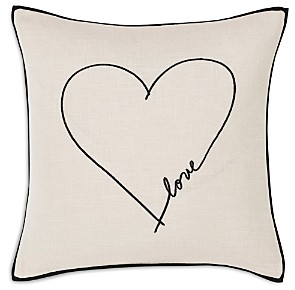 ED Ellen Degeneres Love Heart Charcoal Square Pillow