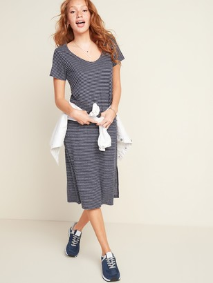 Old Navy Striped Linen-Blend Jersey Midi T-Shirt Shift Dress for Women